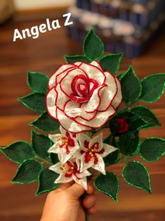 French Beaded Flower Rose arraignment by ANGELSBEADSFLOWERS on Etsy