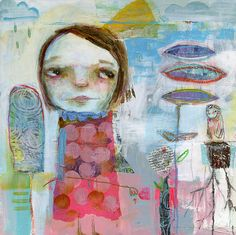 Mindy Lacefield Art Journal Pages, Journal 3, Art Journals, Magical Images, Face Art, Art Faces, Heart Art, Whimsical Art, Types Of Art
