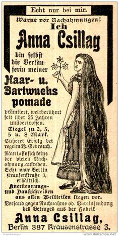 Original-Werbung/ Anzeige 1910 - ANNA CSILLAG - HAARPOMADE - ca. 45 x 100 mm