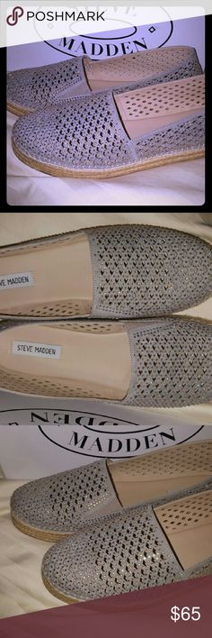 Steve Madden Crystal Sparkle espadrilles Gorgeous Steve Madden Crystal/rhinestone silvery color Espadrillrs shoes Worn one night out on the town. Size 10 Comes with box Steve Madden Shoes Espadrilles