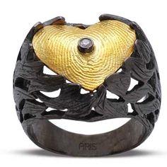 Pırlantalı 18 Ayar Altın Gümüş Parmak izi Yüzük Breda, yüzük modelleri, hediye, özel tasarım, parmak izi koleksiyonu