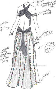 2 scarves + skirt or pants+ beads or yarn or Fringe, whatever. I am thinking keep it lighter ,not a drape as front & back. Dress Drawing, Drawing Clothes, Anime Outfits, Cool Outfits, Estilo Tribal, Dress Sketches, Fantasy Dress, Belly Dance Costumes, Fashion Design Sketches