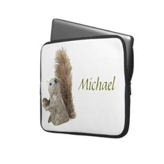 The Squirrel Puppet laptop sleeve template:photo of a cute puppet and customizable name.  For you at www.zazzle.com/superdumb
