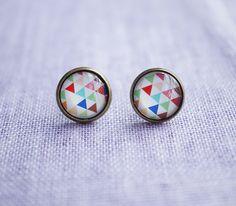 Color Triangle Glass Earrings Stud  Earrings by MissDaisyJewelry, $6.90