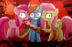 Cupcakes: Pinkamena diane pie,Rainbow factory: Rainbow dash,and Shed.mov: fluttershy