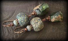 Ancient Roman Glass, Lampwork Glass, Primitive,Organic, Rustic, Earthy, Beaded Earrings by YuccaBloom on Etsy