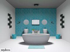 aqua bathroom Bright Bathrooms, Aqua Bathroom, Wall Hung Toilet, Feature Tiles, Wow Products, 3d Design, Clutter, Baths, Bedrooms