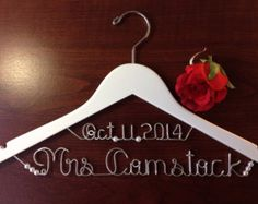 Personalized Hanger two line with PEARLS WHITE, bridal hanger, bridal, Bridal Gift, brides hanger,name hanger,wedding hanger.
