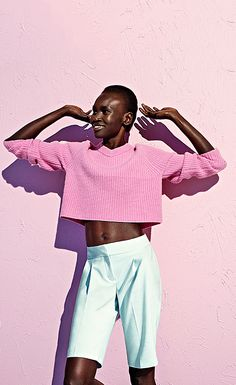 Jumper, £325, whistles.co.uk. Shorts, £32.50, marksandspencer.com.  Photograph: Gustavo Papaleo for the Guardian. Styling: Priscilla Kwateng...