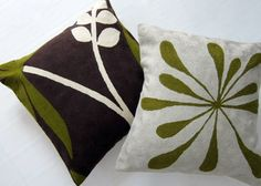 Splodge Green Pillow  $69.00 New collection of hand-made cushions. The perfect example of east meeting west in the best possible ways. From craftsmen who produce the finest quality chainstitch needlework in the world