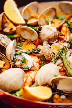 With bold and exotic flavors and loads of seafood, this Paella-Inspired Rice Casserole is easy and fun to make and incredibly delicious! #paella #seafoodrecipe #rice | Easy Japanese Recipes on JustOneCookbook.com Grilling Recipes, Seafood Recipes, Dinner Recipes, Cooking Recipes, Rice Noodle Recipes, Easy Japanese Recipes, Easy Recipes, Paella Recipe, Rice Casserole