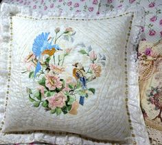 Shabby Cottage Chic Quilted White Pillow by OhMyThatsPretty