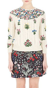 Embroidered Cable-Knit Sweater