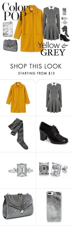 """""""Color Pop: Yellow on Grey"""" by daughter-of-apollo92 ❤ liked on Polyvore featuring Toast, Gap, Clarks, Megan Thorne, BERRICLE, Nine West, Casetify, colorful, colorpop and yellowandgrey"""