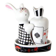Topchoice Card Bunny Salt & Pepper Shaker Set ($11) ❤ liked on Polyvore featuring home, kitchen & dining, serveware, rabbit salt and pepper shakers, round tray, salt shaker, bunny rabbit salt and pepper shakers and salt n pepper shakers