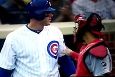 Anthony Rizzo doesn't take kindly to being thrown at by Cardinals during the seventh inning of the Chicago Cubs game on Friday.