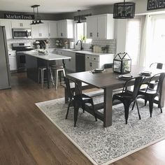 Affordable Kitchen Dining Room Design Ideas For Eating With Family - House & Living Kitchen Redo, Home Decor Kitchen, Home Kitchens, Kitchen Ideas, Kitchen With Dining Room, Kitchen Cabinets, Family Kitchen, Kitchen Sinks, Dining Room Rugs
