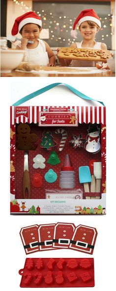 Kids of all ages will want this Holiday Kids Baking Set!  Christmas Cookies, Candy Mold Set, Fun Recipes and more.