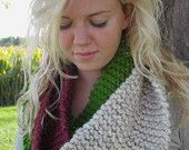 Leaf Jumping - Turquoise and Mustard Knit Infinity Scarf, Knit Scarf, Infinity Scarf, Fall Infinity Scarf. $30.00, via Etsy.