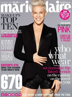 Pink - Marie Claire Magazine Cover [Australia] (September 2013)