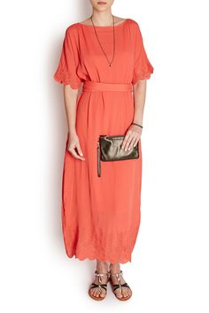 This silk blend dress from French brand Vanessa Bruno is bound to turn heads this summer. In a colour pop shade of bright coral it features pretty embroidery details at the hem and cuffs which lend it feminine appeal. Long in length it belts in at the waist for a flattering silhouette and will look perfect simply put with a pair of flat grecian sandals.