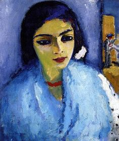 Кес ван Донген - Kees van Dongen, Woman in Blue with Red Necklace, circa 1907-1911, Private collection, Painting - oil on canvas, 55 x 46 cm