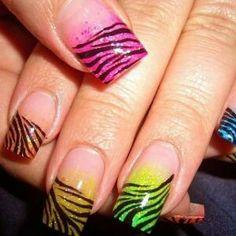 Neon zebra french tips
