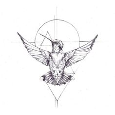 hummingbird geometric tattoo