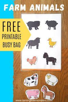 FREE Farm Animal Shadow Matching Printable