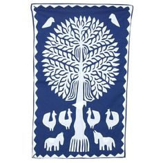 Tempting Tree of Life Cotton Wall Hanging Tapestry Size 35 X 22 Inches Whg01373