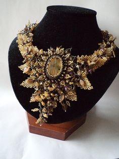 Labradorite Beadwork Necklace Seed Bead Flower by NataliStudio