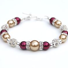 Old Gold and Red Pearl Rhinestone Bracelet, Bridesmaid Jewelry, Autumn Wedding Accessory