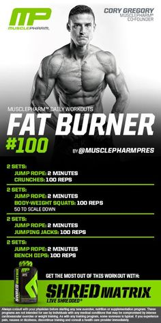 Fat Burner #100 Musclepharm Workouts, Muscle Pharm, Lose Body Fat, Fat Burning Workout, Weight Loss Pictures, Fat Burner, Gym Workouts, Killer Workouts, Fitness Routines
