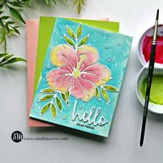 Crafty Sales and Simon Says Stamp Hibiscus Bloom Die - Sandi Maciver - Cardmaking and papercrafting made easy Liquid Watercolor, Watercolor Paper, Pretty Backgrounds, Hello Dear, Heart Cards, Card Tutorials, Simon Says Stamp, Pretty Cards, Hero Arts