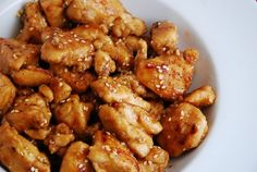 Light Sesame Chicken Recipe � 5 Points - LaaLoosh... This looks really good! I'm thinking if I start cooking Chinese food, we won't have to go to the restaurant and get all the bad stuff...I don't know if that will work though.