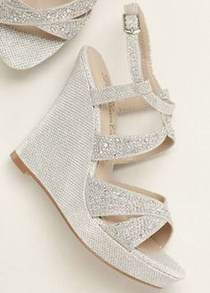 1d245ef09b66 A little extra sparkle goes a long way with these crystal embellished high  heel wedge sandals! Style at David s Bridal.