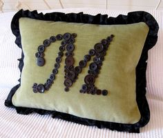 Green and Black Letter 'M' Pillow