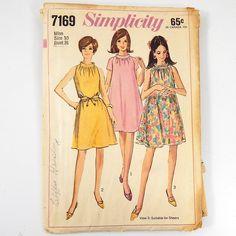 Simplicity 7169 Vintage 1967 Miss Size 10 Tent Dress Bust 31 Cut Complete
