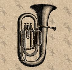 Vintage Image Orchestral Bass Tuba Instant Download Digital printable graphic - fabric transfer burlap iron on prints t-shirts bags HQ300dpi by UnoPrint on Etsy