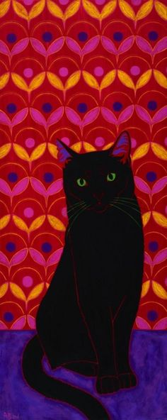"""Crazy Sexy Cool Black Cat Art MATTED Print by Angela Bond. """"Crazy Sexy Cool"""", This is a limited edition print of one of my pop art paintings. Angela Bond @ 2007 I have painted so many black cats. This one happens to be mine! mat size - 8"""" X 16"""" (white mat) print size - 4"""" X 10"""" high quality print using Epson heavy weight matte paper signed, titled and numbered For available originals, go to; www.angelabondart.com."""