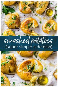 Smashed Potatoes Recipe with Herbs - Potato Recipes - Roasted Mini Potatoes, Baked Baby Potatoes, Smash Potatoes, Smashed Potatoes Recipe, Potatoes In Oven, Potato Recipe With Steak, White Potatoes, Potato Sides, Potato Side Dishes