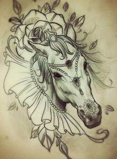 Girly horse tattoo idea