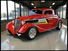 ZZ TOP& Billy Gibbons 1934 Ford 3 Window Coupe Street Rod 302 CI, Fiber lass Body is on the auction block by Mecum Auction. Retro 50, Auto Retro, Ford Motor Company, Hot Rod Autos, Hot Rods, Vintage Cars, Antique Cars, Vintage Type, Classic Hot Rod