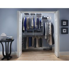 Features:  -Material: Vinyl coated steel.  -Hardware included.  Product Type: -Closet System.  Finish: -White.  Mount Type: -Wall Mounted/Built-In.  Primary Material: -Metal.  Rod Included: -Yes.  Exp