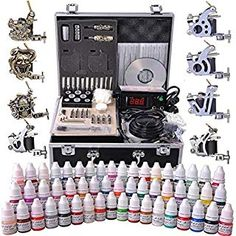 AMPERSAND SHOPS Professional Complete Tattoo Kit with LCD Power Supply and 2 Tattoo Guns with Carrying Case with Lock 54 Ink Selection * Check out the image by visiting the link. (This is an affiliate link and I receive a commission for the sales) Tattoo Machine Kits, Rotary Tattoo Machine, Machine Logo, 4 Tattoo, Foot Tattoos, Tattoo Shop, Full Tattoo, Tattoo Drawings, Tatoos
