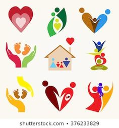 Set of family vector Logo Desing, Branding Design, Logo Familia, Child Care Logo, Massage Logo, Baby Massage, Teamwork Logo, Kids Salon, Fertility Symbols