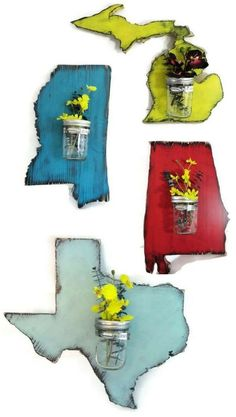 Um, these are adorable, State wall decor with an attached mason jar! Wood sign, Housewarming gift, Farmhouse style, Farmhouse decor, Home decor, Rustic decor, Living room, Gallery wall #ad Rustic Farmhouse Decor, Farmhouse Style Decorating, Rustic Decor, Wood Block Crafts, Wood Projects, Family Room Decorating, Decorating Ideas, Decor Ideas, Bohemian Living Rooms