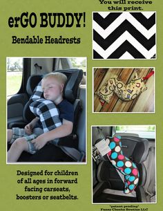 Now this is just cool!!! erGO BUDDY Bendable baby / toddler headrest by FuzzyCheeksBoutique, $29.99
