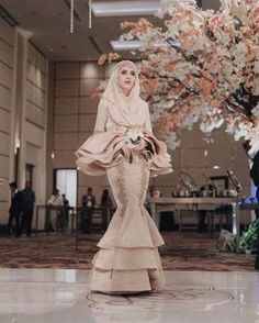 The beautiful Aghnia Punjabi, pic from her IG, this is actually bridesmaid look, but soooo prettyyyy, so I decided to use it in my wed Hijab Prom Dress, Muslimah Wedding Dress, Hijab Evening Dress, Hijab Style Dress, Muslim Wedding Dresses, Wedding Bridesmaid Dresses, Best Wedding Dresses, Wedding Attire, Evening Dresses