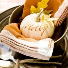 pumpkin table setting - place name - calligraphy - autumn table - orange - leaves - gourd -